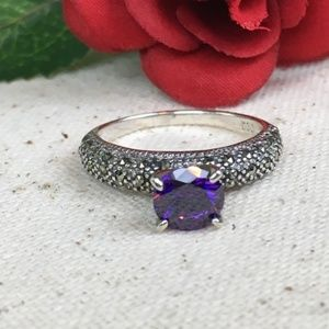 CZ Purple Diamond Swiss Marcasite Sterling Ring